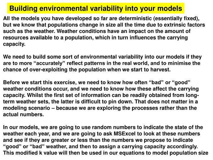 Building environmental variability into your models