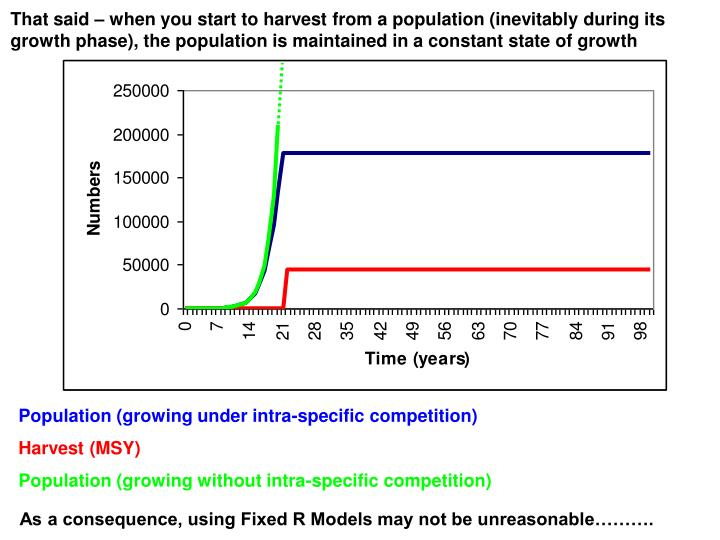 That said – when you start to harvest from a population (inevitably during its growth phase), the population is maintained in a constant state of growth