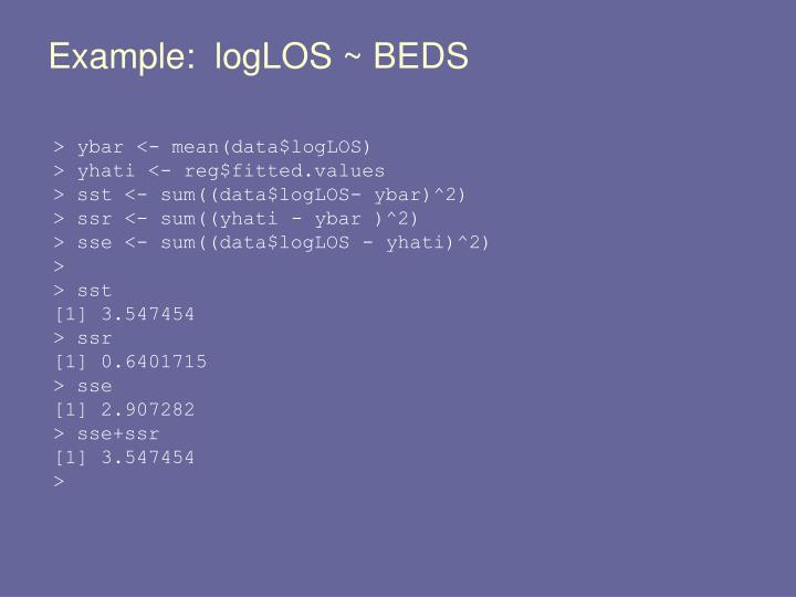 Example:  logLOS ~ BEDS