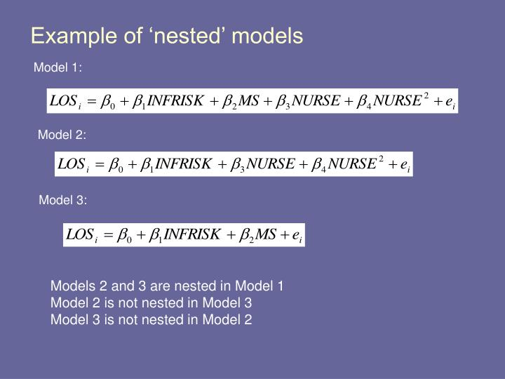 Example of 'nested' models