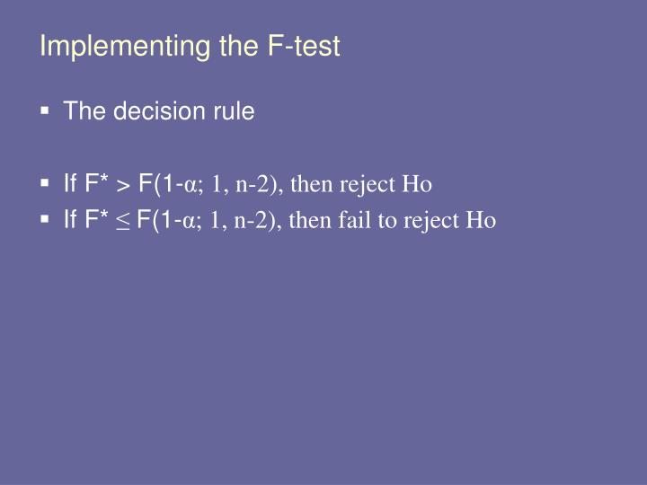 Implementing the F-test