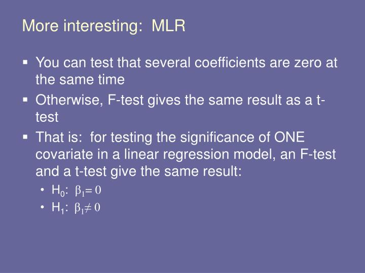 More interesting:  MLR
