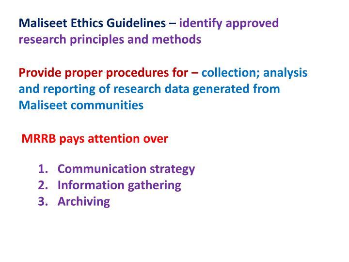 Maliseet Ethics Guidelines –