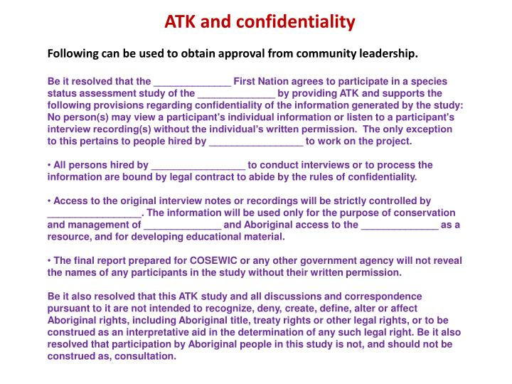 ATK and confidentiality