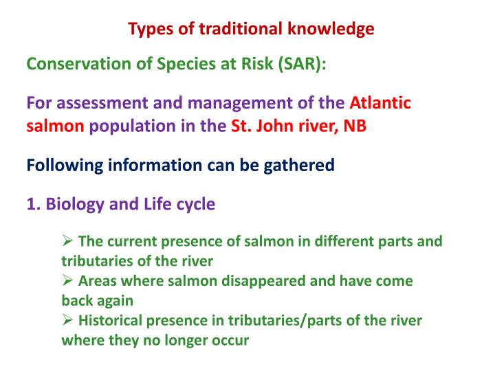 Types of traditional knowledge