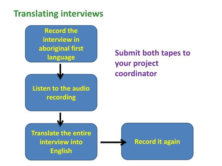 Translating interviews