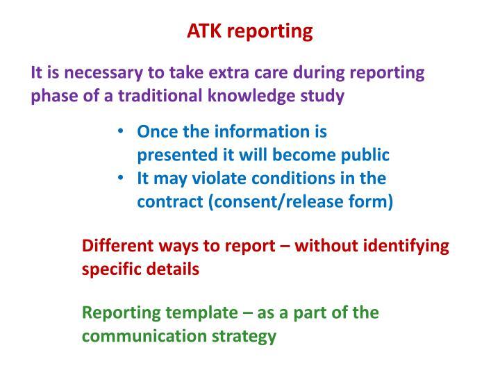 ATK reporting