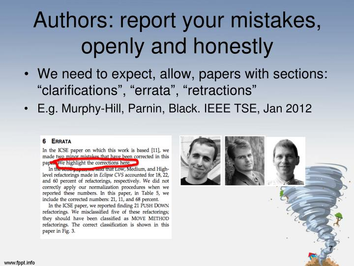 Authors: report your mistakes,