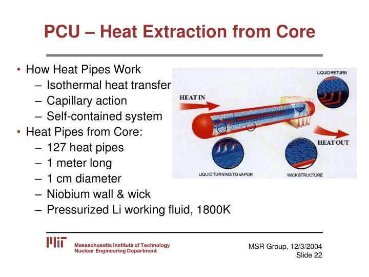 PCU – Heat Extraction from Core