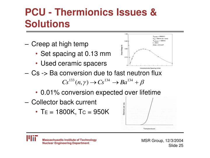 PCU - Thermionics Issues & Solutions