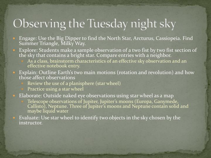 Observing the Tuesday night sky