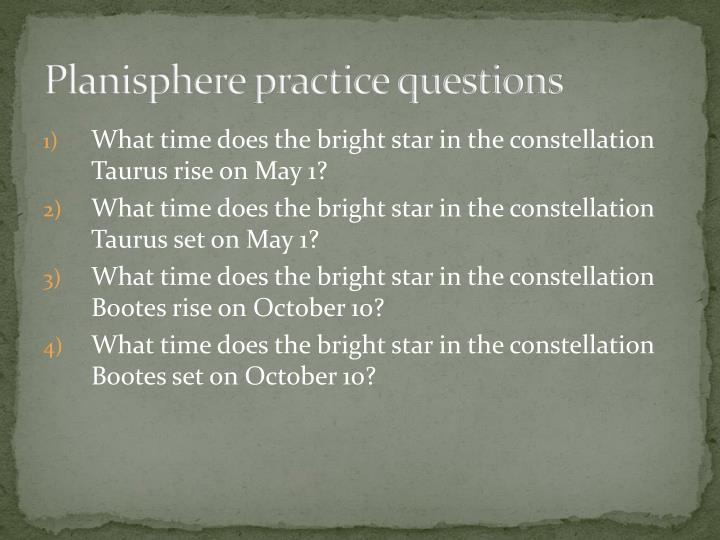 Planisphere practice questions