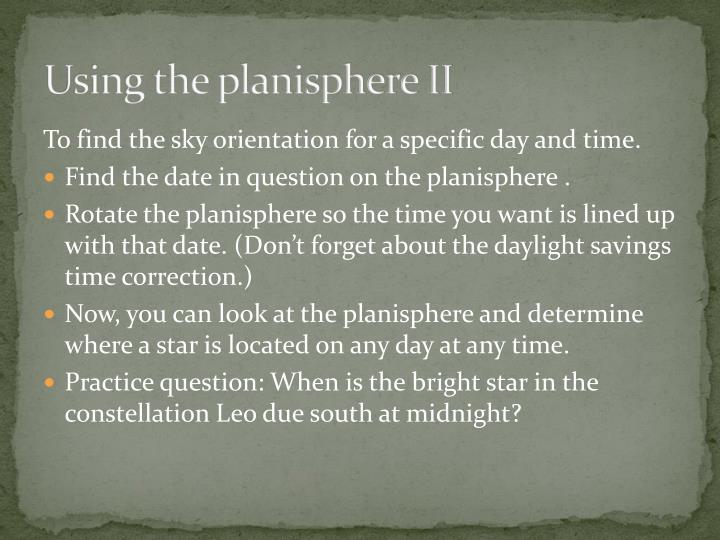 Using the planisphere II