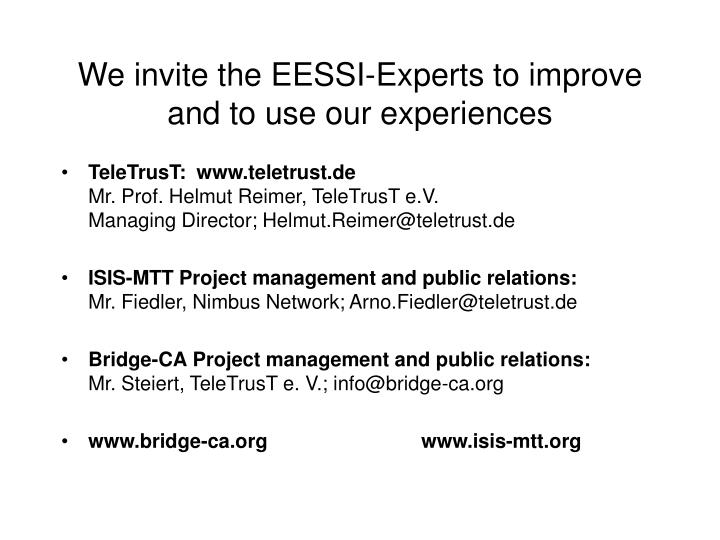 We invite the EESSI-Experts to improve and to use our experiences