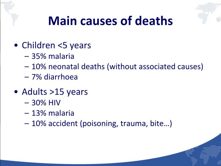 Main causes of deaths