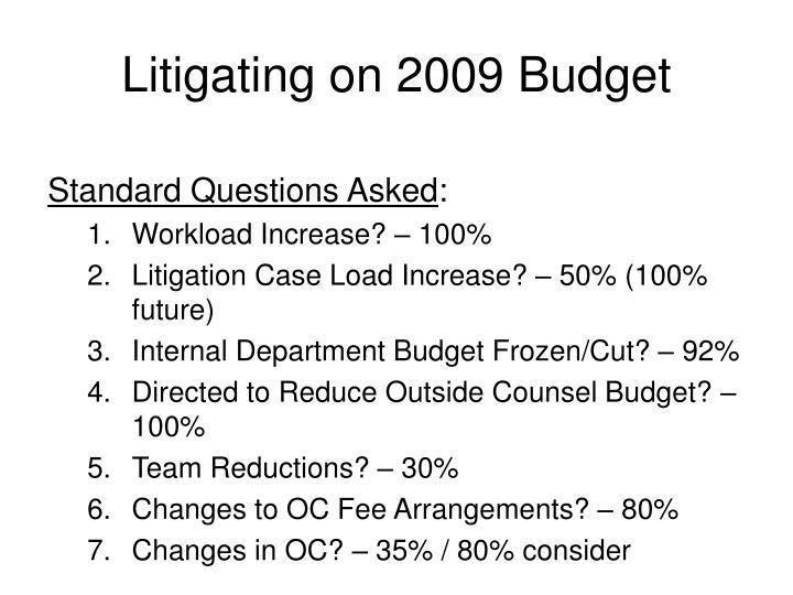 Litigating on 2009 Budget