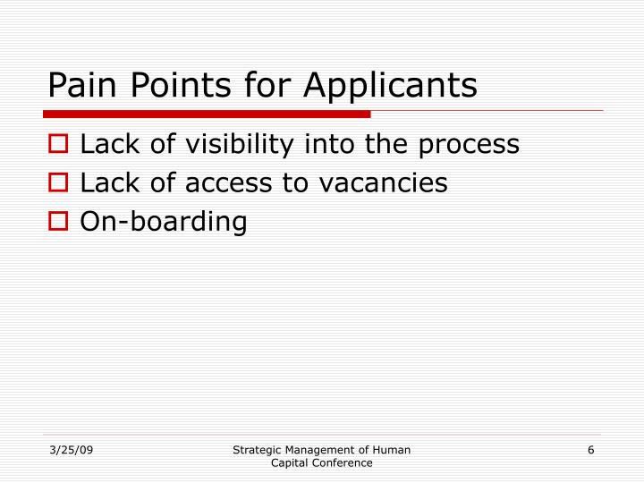 Pain Points for Applicants