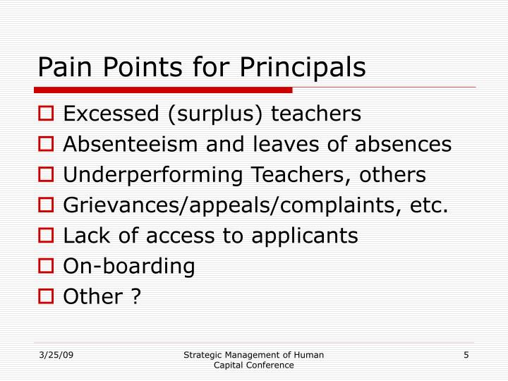 Pain Points for Principals