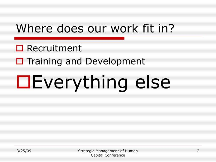 Where does our work fit in?