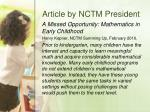 article by nctm president