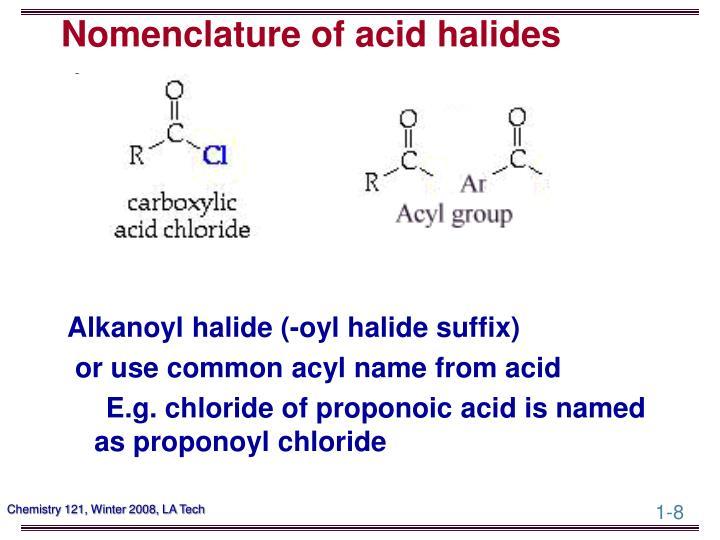 Nomenclature of acid halides