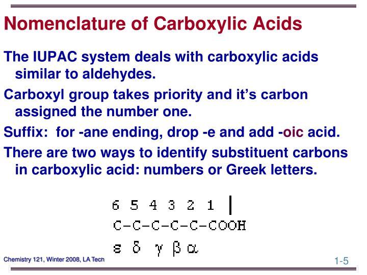 Nomenclature of Carboxylic Acids