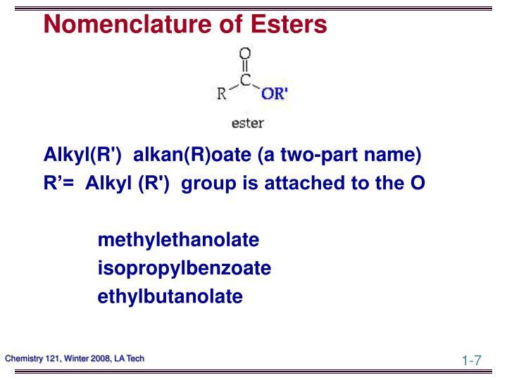 Nomenclature of Esters