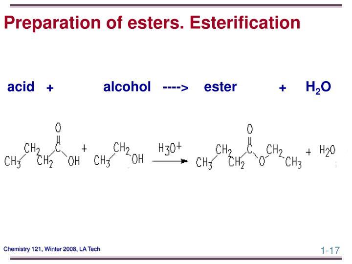 Preparation of esters. Esterification