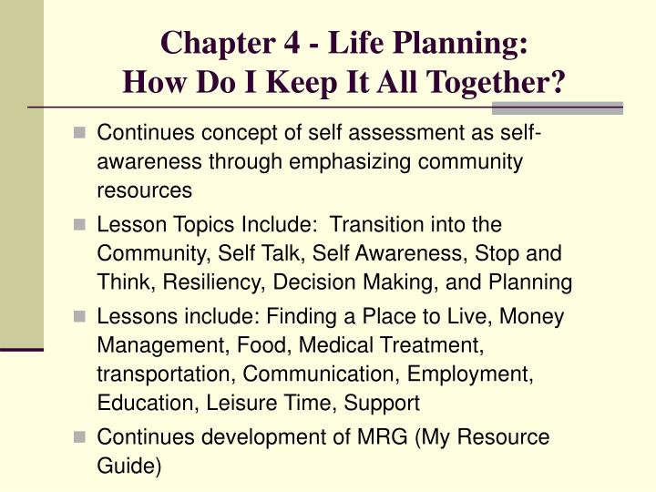 Chapter 4 - Life Planning: