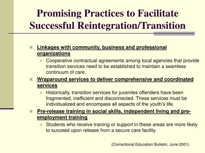 Promising Practices to Facilitate Successful Reintegration/Transition