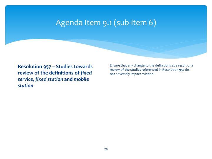 Agenda Item 9.1 (sub-item 6)
