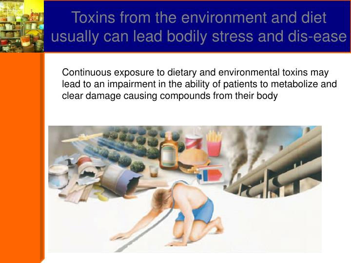 Toxins from the environment and diet usually can lead bodily stress and dis-ease