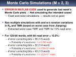 monte carlo simulations m 2 3