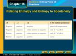 relating enthalpy and entropy to spontaneity