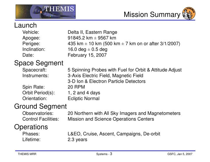 Mission summary
