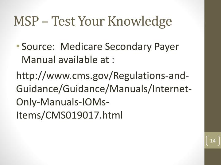 MSP – Test Your Knowledge