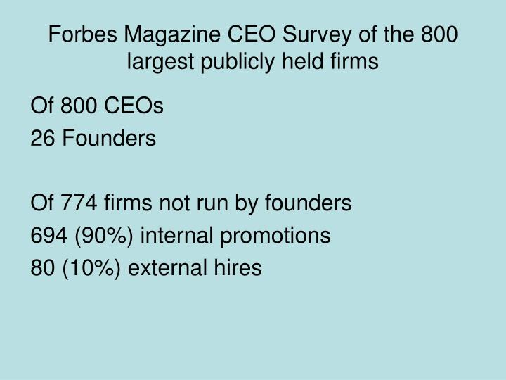 Forbes Magazine CEO Survey of the 800 largest publicly held firms