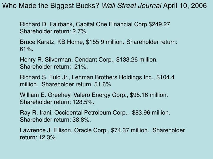 Who Made the Biggest Bucks?