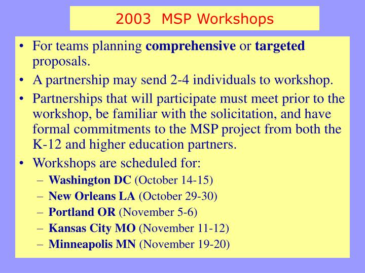 2003  MSP Workshops
