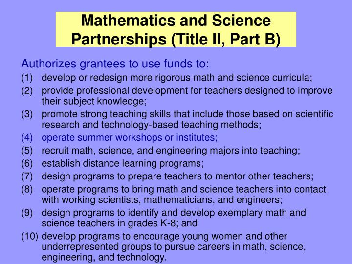 Mathematics and Science Partnerships (Title II, Part B)