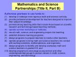 mathematics and science partnerships title ii part b