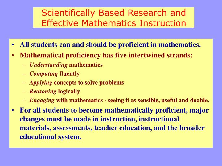 Scientifically Based Research and Effective Mathematics Instruction