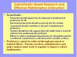 scientifically based research and effective mathematics instruction1