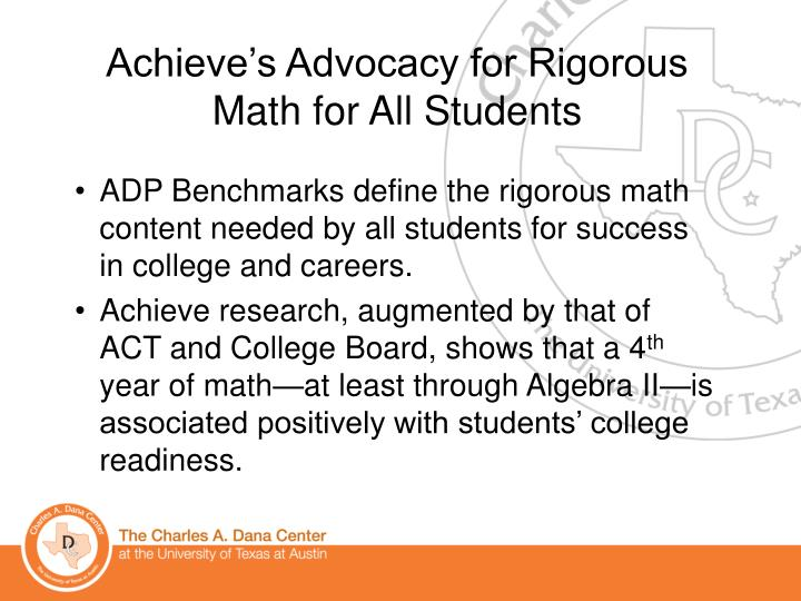 Achieve's Advocacy for Rigorous Math for All Students