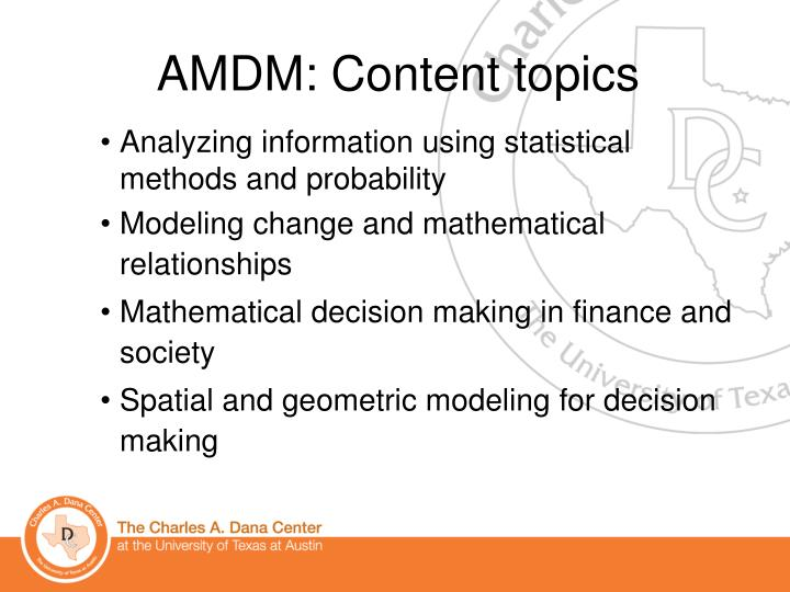 AMDM: Content topics