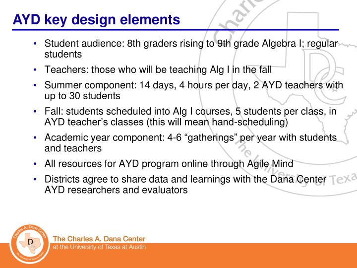 Student audience: 8th graders rising to 9th grade Algebra I; regular students