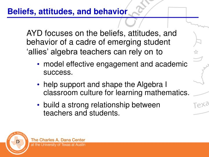 Beliefs, attitudes, and behavior