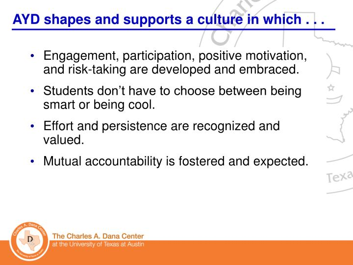 AYD shapes and supports a culture in which . . .