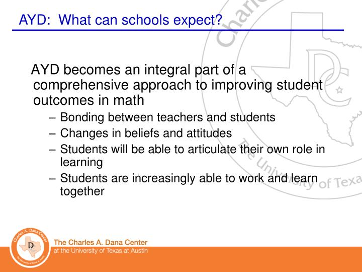 AYD becomes an integral part of a comprehensive approach to improving student outcomes in math