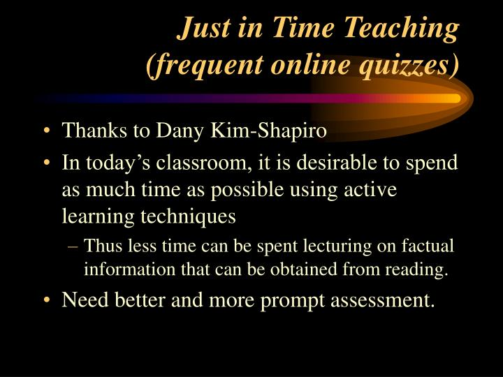 Just in Time Teaching
